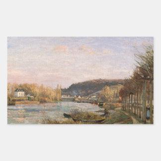 Camille Pissarro - The Seine at Bougival Rectangular Sticker