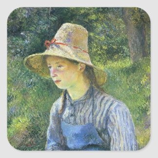 Camille Pissarro- Young Peasant Girl Wearing a Hat Square Stickers