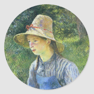 Camille Pissarro- Young Peasant Girl Wearing a Hat Sticker