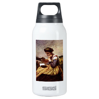 Camille Reading Beside the Lake 10 Oz Insulated SIGG Thermos Water Bottle