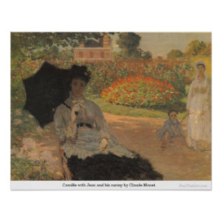 Camille with Jean and his nanny by Claude Monet Poster