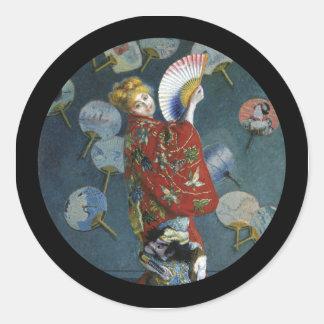 Camilo en kimono japonés pegatina redonda