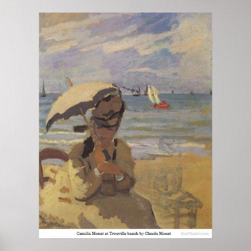 Camilo Monet en la playa de Trouville de Claude Mo Póster