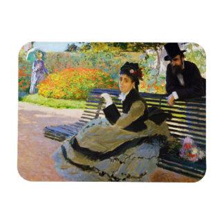 Camilo Monet en un banco Claude Monet del jardín Imanes Rectangulares