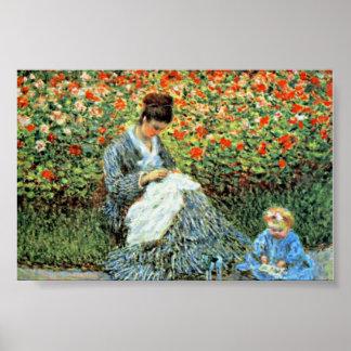Camilo Monet y el día de madre de Monet del niño Posters