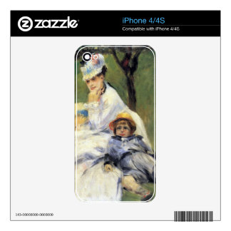 Camilo Monet y su hijo Jean por Renoir iPhone 4 Calcomanía