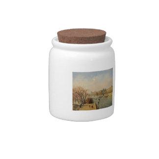 Camilo Pissarro- el Louvre, mañana, Sun Jarra Para Caramelo