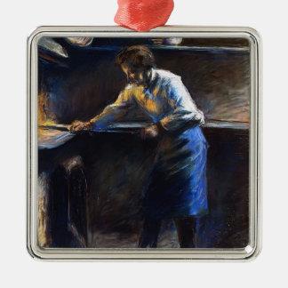 Camilo Pissarro- Eugene Murer en su horno de los Adorno Cuadrado Plateado