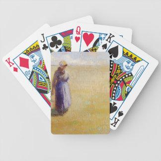 Camilo Pissarro- tres mujeres que cortan la hierba Baraja Cartas De Poker