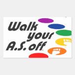 Camina su A.S. Off Pegatina Rectangular