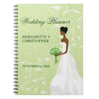 Caminando el planificador del boda del verde del spiral notebooks
