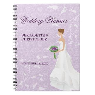 Caminando el planificador púrpura del boda del spiral notebook