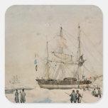 Caminando en el paquete, expedición de Ross, 1842 Calcomanía Cuadrada