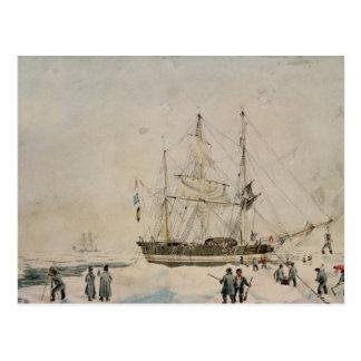 Caminando en el paquete, expedición de Ross, 1842 Postal