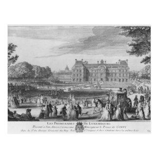 Caminando en los jardines de Luxemburgo, 1729 Postal