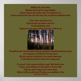 Caminando las calles oscuras….Poema/poster de las  Póster