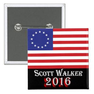 Caminante 2016 de Scott - bandera de Betsy Ross Pin Cuadrado