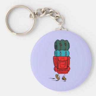 Caminante azul del Backpacker del dibujo animado Llavero Redondo Tipo Pin