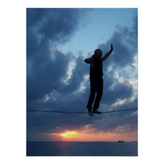 Caminante de la cuerda tirante de Key West en la p Póster