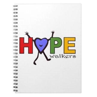 Caminante de la esperanza del equipo para el paseo libros de apuntes con espiral