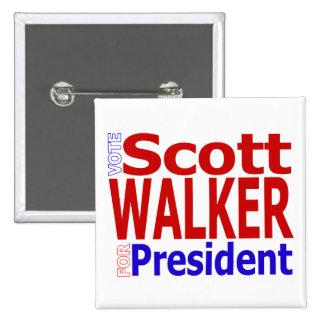 Caminante de Scott para presidente Button Pin Cuadrado