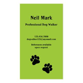Caminante del perro de la impresión de la pata en tarjetas de visita