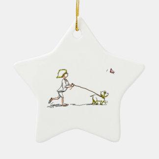 caminante del perro adorno de cerámica en forma de estrella