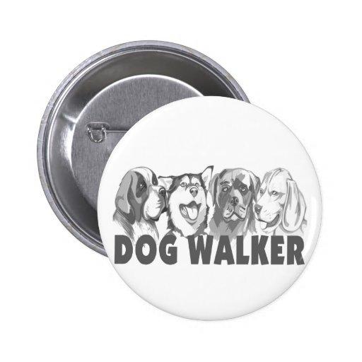 Caminante del perro pin redondo de 2 pulgadas