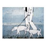 caminante del perro tarjetas postales