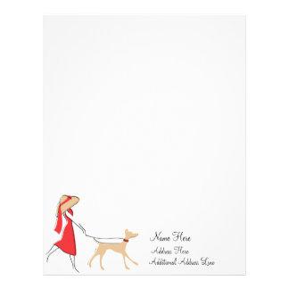Caminante elegante del perro membretes personalizados