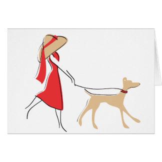 Caminante elegante del perro tarjeta pequeña