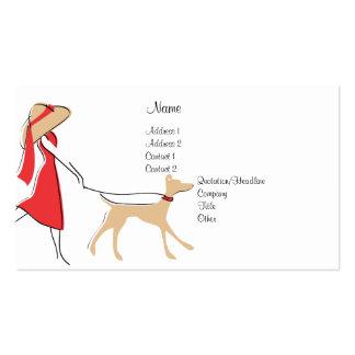 Caminante elegante del perro tarjetas de visita