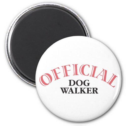 Caminante oficial del perro - rosa imán para frigorifico