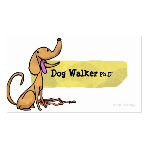 Caminante Ph.D del perro con la tarjeta de visita