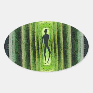 Caminante verde delgado calcomanías óvales personalizadas