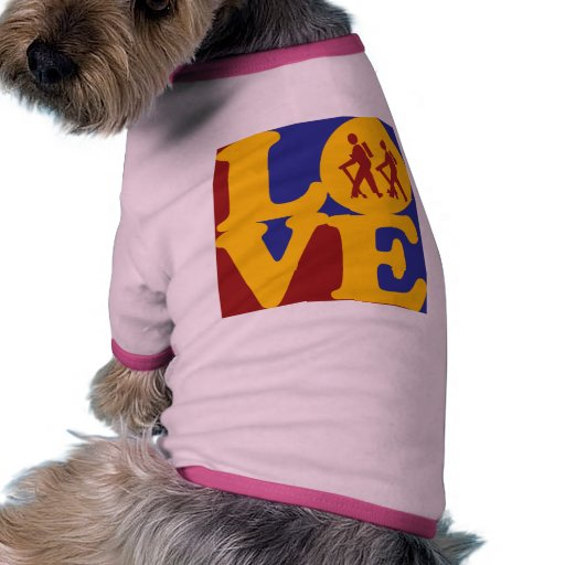 Caminar amor camiseta con mangas para perro