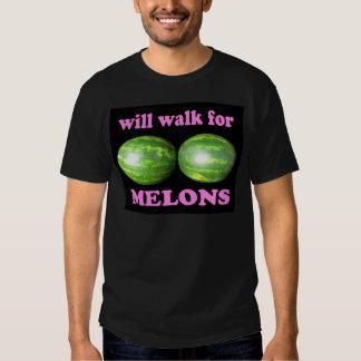 caminará para el negro de los melones con rosa playera