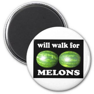 caminará para los melones en negro imán redondo 5 cm