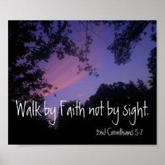 Camine por la fe no por puesta del sol del verso d póster
