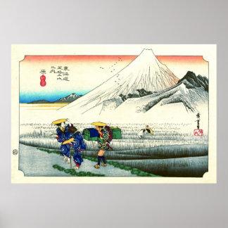 Camino 1833 de Tokaido de la estación de Hara Póster