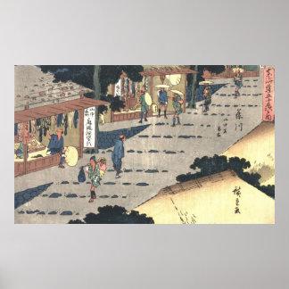 Camino 1838 de Tokaido de la estación de Fujikawa Póster
