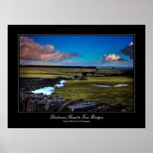 Camino a dos puentes - impresión de Dartmoor de la