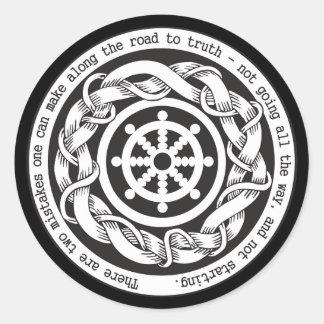 Camino a la rueda de Dharma de la verdad Pegatina Redonda