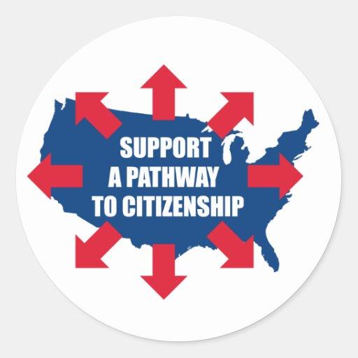 Camino a los pegatinas de la ciudadanía etiqueta redonda