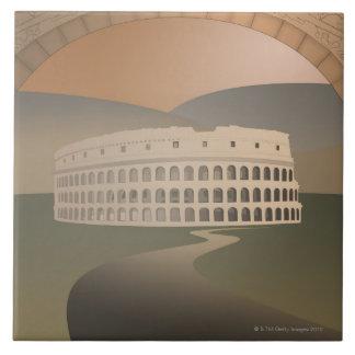 Camino al Colosseum, Roma, Italia Azulejo Cuadrado Grande