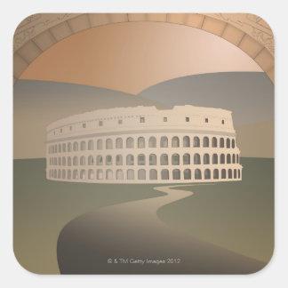 Camino al Colosseum, Roma, Italia Pegatina Cuadrada