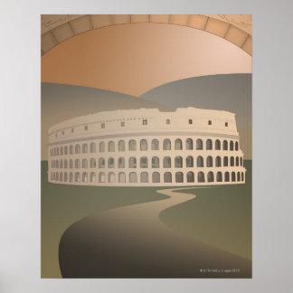 Camino al Colosseum, Roma, Italia Póster