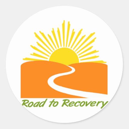 Camino al engranaje de la recuperación pegatinas redondas