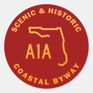 Camino apartado costero escénico e histórico de pegatina redonda