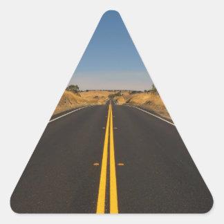 Camino - carretera larga calcomania triangulo personalizadas